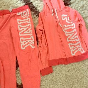 Pink Jogger set, zip hoodie and joggers pants XS